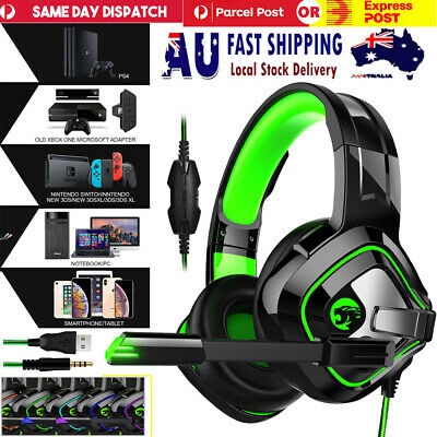 AU34.99 • Buy Gaming Headset PS4 3.5mm Wire Headphone W/Mic USB LED Lights For XBOX PC Laptop