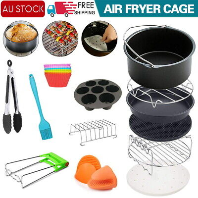 AU23 • Buy 8 Inch Air Fryer Frying Cage Dish Baking Pan Rack Pizza Tray Pot Accessories AU