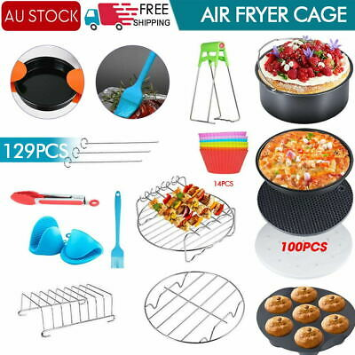 AU24 • Buy 8  Air Fryer 129PCS Accessories Frying Cage Dish Baking Pan Rack Pizza Tray Pot