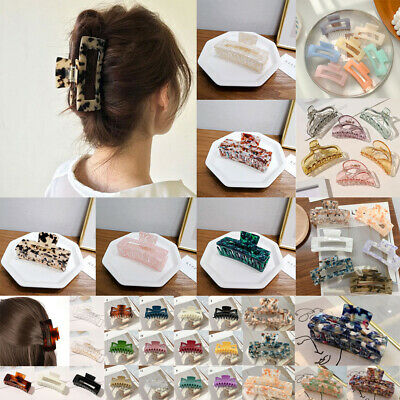 AU6.49 • Buy Large Geometric Square Leopard Acetate Hair Claw Clip For Women Hair Accessories