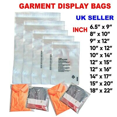 £4.99 • Buy Garment Bags Clear Cello Plastic Self Seal Packaging For  Clothing T-Shirts Etc