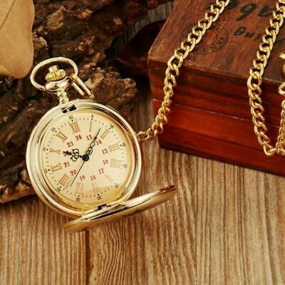 £7.99 • Buy Vintage Quartz Gold Pocket Watch With Chain Necklace Engraved  Forever  Gifts