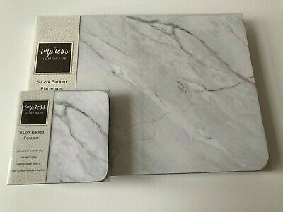 £18.99 • Buy Set Of 6 White Marble Effect Placemats & Coasters Dining Dinner Table Mats