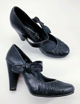 £12 • Buy Next Sole Reviver Size 4 (37) Black Leather Mary Jane Cone Heel Court Shoes
