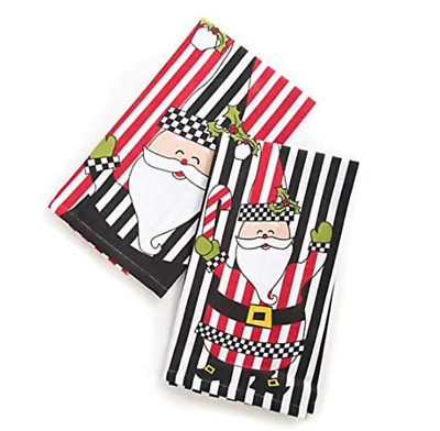 $24 • Buy MACKENZIE-CHILDS Courtly Check Jolly Santa Dish Towels - Set Of 2
