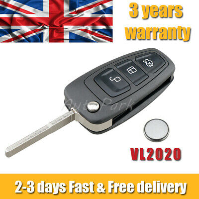 £8.45 • Buy 3 Button For Ford Transit Custom Remote Key Fob Case Repair Kit + Battery VL2020