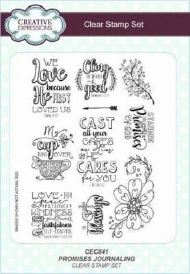 £12.95 • Buy CREATIVE EXPRESSIONS A5 Clear Stamp Set PROMISES JOURNALLING God Cares CEC841