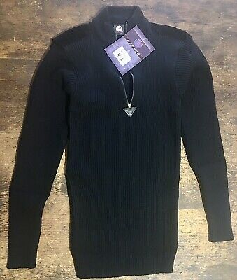 $37.99 • Buy Rothco Black Acrylic Commando Military Quarter Zip Sweater Suede Patches Size XL