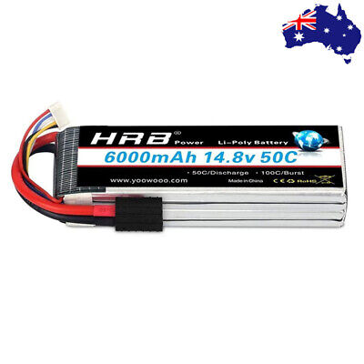 AU79.99 • Buy HRB 4S 6000mAh 50C 14.8V TRX LiPo Battery For RC Drone Helicopter Boat Car Truck