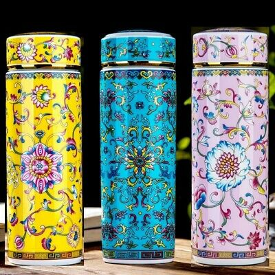 AU38 • Buy Ceramic Porcelain Thermos Travel Mug Drink Bottle Water Coffee Insulated Vacuum