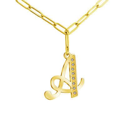 £5.89 • Buy Initial CZ Letter Necklace Silver Gold A To Z Alphabet Pendant Gifts For Women