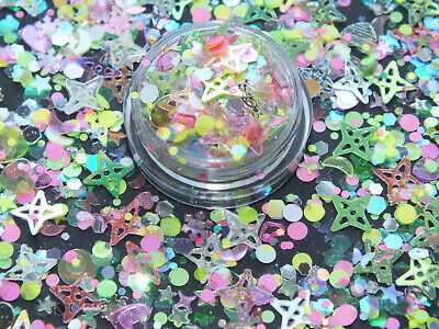 £2.49 • Buy NEW 2g  Space Candy  Pink & Green Fine & Chunky Glitter Dust Sequins Nail Art