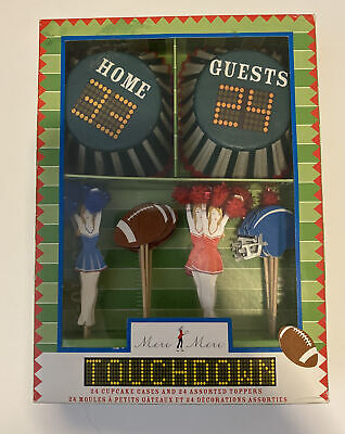 £9.30 • Buy Meri Meri Touchdown Football Themed 24 Cupcake Cases & 24 Assorted Toppers NWT