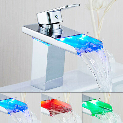 £28.99 • Buy LED Bathroom Sink Mono Mixer Taps Waterfall Basin Faucet Brass Temperature New