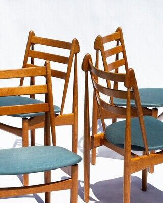 AU1800 • Buy 4 Model J60 Dining Chairs By Poul M Volther, FDB Møbler, 1955 Mid Century Danish