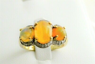 £212.17 • Buy 10k Natural Mexican 3-stone Fire Opal & Diamond Ring, Sz 7