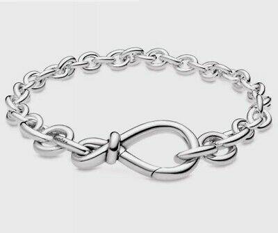 Genuine S925 Sterling Silver Chunky Infinity Knot Chain Bracelet 20cm With Pouch • 19.99£
