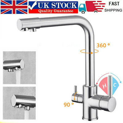 £42.99 • Buy 3 In1 Kitchen Mixer Tap Drinking Filtered Water Outlet Dual Lever Water Sink Tap