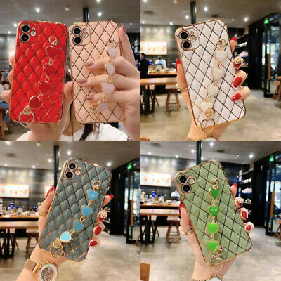 AU12.86 • Buy For IPhone 12 11 Pro Max XS XR 6 7 8 Girl's Bling Love Heart Plaid Case W/ Strap