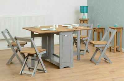 £167.95 • Buy Santos Folding Drop Leaf Butterfly Dining Set With 4 Chairs Pine & White