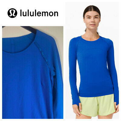 $ CDN81.88 • Buy LULULEMON Full Tilt Shirt Top Long Sleeve 12 Large Cobalt Blue Running Ruffle  X