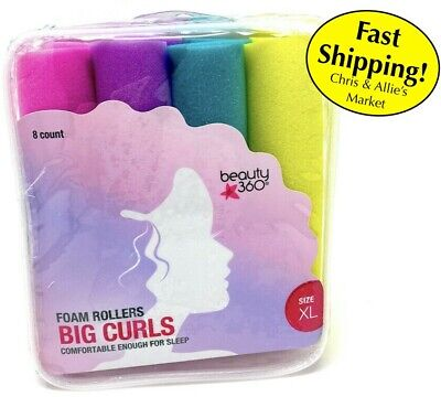 AU11.55 • Buy Beauty 360 - Soft Foam Hair Rollers Curlers Size XL - 8 Count, Good For Sleep