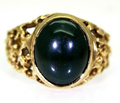 £245 • Buy Retro Bloodstone Cabochon 9ct Yellow Gold Ring Size M ~ 6 1/4