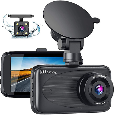 AU74.49 • Buy Dash Cam Front And Rear, Milerong FHD Dash Camera For Cars Front And Rear, 3