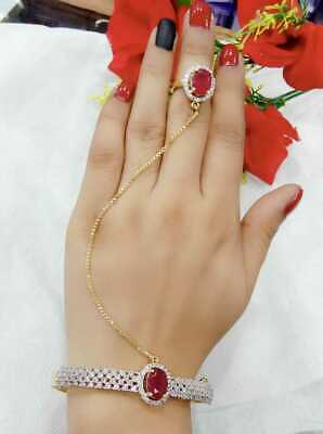 £11.35 • Buy Indian Women Gold Plated Bracelet With Ring Adjustable Fashion Jewelry Wedding