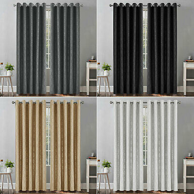 £38.99 • Buy Insulated Heavy Thick Thermal Sliver Blackout Curtains Eyelet Ring Top Pair UK