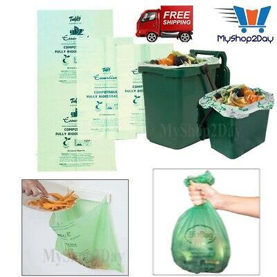 £8.57 • Buy 7L 10L 30L Compostable Biodegradable Liners Food Kitchen Waste Bin Caddy Bags