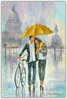 £17.99 • Buy Romantic-Couple Bicycle Holding Yellow Umbrella Canvas 20X30 Inches Wall Art