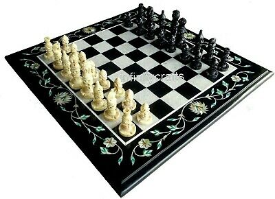 AU368.02 • Buy 14 Inches Black Chess Table Top Marble Coffee Cum Game Table Unique Design