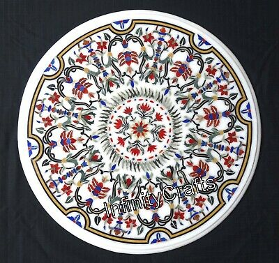 AU1708.89 • Buy 30 X 30 Inches White Patio Sofa Table Top White Round Coffee Table Inlay Design