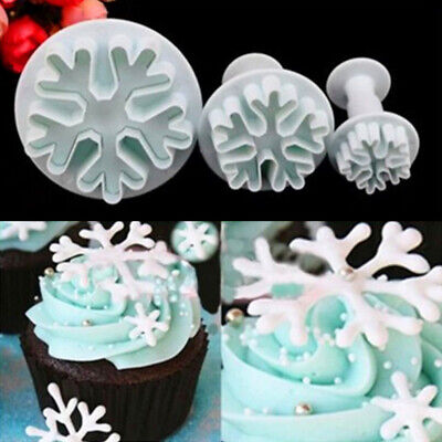 £5.46 • Buy 3X Snowflake Mould Sugar Cookie Decor DIY Mold Cake Craft Fondant Cutter Plunger