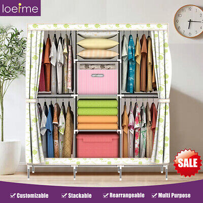 £21.99 • Buy Portable Fabric Canvas Wardrobe With Hanging Rail Clothes Shelving Cupboard New
