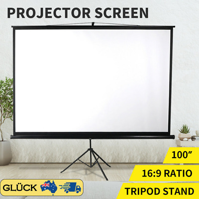 AU116.48 • Buy 100 Inch Projector Screen Tripod Stand Home Pull Down Outdoor Screens Cinema 3D