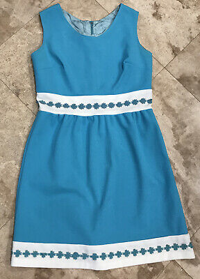 AU35.71 • Buy Vintage 1960s Handmade Womens Dress Frock Aqua Blue White Flower Trim Clothing S