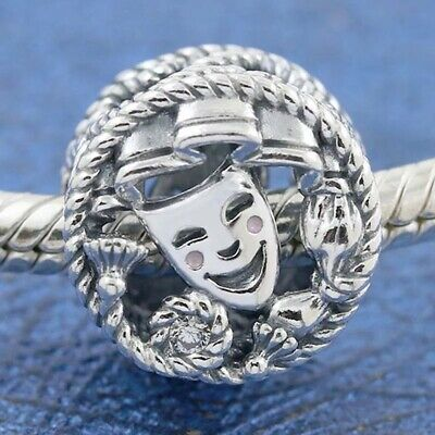 £10.99 • Buy DRAMA Comedy & Tragedy Masks Charm & Pouch - Silver S925 - Theatre Actress Play