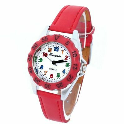 £7.99 • Buy Child's   Learn To Tell The Time   Raspberry Red  Pearlised Leather Watch .