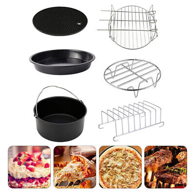 AU36.28 • Buy 6pcs 6- 8  Air Fryer Accessories Rack Cake Pizza Oven Barbecue Frying Pan Tray