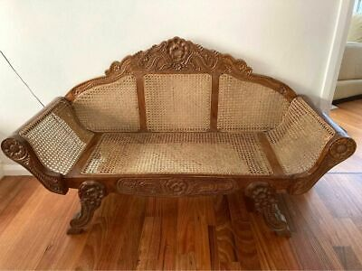 AU350 • Buy Antique Hand Carved Wood/Rattan Sofa/chair