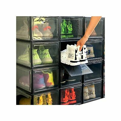 $61.85 • Buy Stackable Shoe Organizer Shoes Box Clear Plastic Womens Mens Shoe Sneakers St...