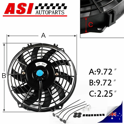 AU39 • Buy 9  Inch PULL/PUSH RADIATOR Electirc Thermo Curved Blade FAN & MOUNTING Kit 80W