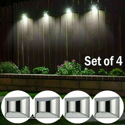 £12.95 • Buy 4 X Led Solar Fence & Wall Lights Garden Security Outdoor Post Step Stylish Uk