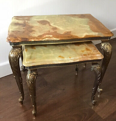 £125 • Buy Vintage, 2 Small, Onyx / Marble Top, Nesting Tables With Elaborate Gilt Legs