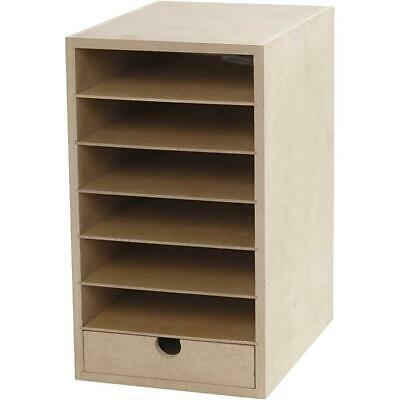 £16.99 • Buy A5 Paper Card Storage Filing Cabinet MDF Wood Wooden Strong 6 Shelves 1 Drawer
