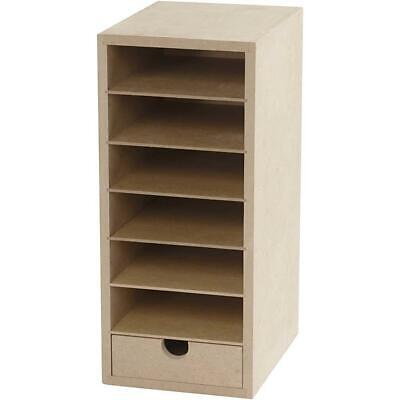 £14.99 • Buy A6 Paper Card Storage Filing Cabinet MDF Wood Wooden Strong 6 Shelves 1 Drawer