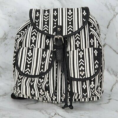 AU24.95 • Buy Women's Medium Black White Boho Drawstring Backpack Bag Packets Casual Buckle