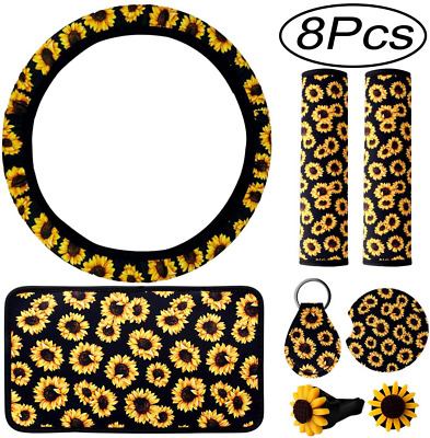 $11.06 • Buy 8 Pieces Sunflower Car Accessories Sunflower Steering Wheel Cover For Women